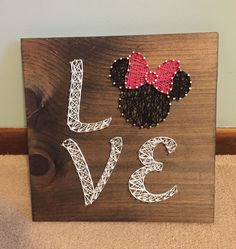 Love sign with Minnie Mouse - string art on board