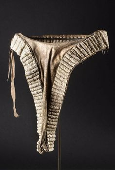 Africa | Apron (cache sexe) from the Turkana people of Kenya | Hide and ostrich shell beads. African Dress, African Art, Traditional Dresses, Aprons, Kenya, Crochet Bikini, Shell, Costumes, Ornaments