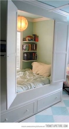 Closet Bed  - I love this idea, it's great for having guest sleep over