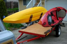 Kayak Camping Gear DIY Harbor Freight modifications for hauling the kayak or canoe. Canoe Boat, Canoe Camping, Canoe Trip, Canoe And Kayak, Kayak Fishing, Camping Gear, Fishing Tips, Sea Kayak, Camping Outdoors