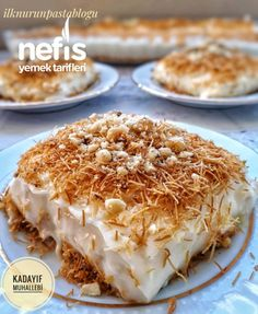 Crispy Kadayıf Pudding (Great Creamy) # Çıtırkadayıfmuhalleb of desserts the faciles gourmet de cocina de postres faciles pasta saludables vegetarianas Food Cakes, Raffaello Dessert, Cake Recipes, Dessert Recipes, Pudding Recipes, Good Food, Yummy Food, Delicious Recipes, Turkish Recipes
