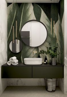 Stylish apartment for a young couple in Krakow - Dezign Ark (Beta) Badezimmer Modern Bathroom, Small Bathroom, Bathroom Ideas, Bathroom Green, Zen Bathroom, Tropical Bathroom, Shower Bathroom, Gold Bathroom, Budget Bathroom