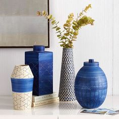 Mood: Indigo. Handcrafted by skilled Thai artisans, each piece in our Indigo Ceramic Vase collection offers a rich palette of indigo hues and patterns. Shop them now with the link in bio. #mywestelm