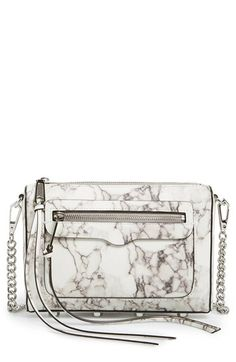 Free shipping and returns on Rebecca Minkoff 'Avery' Crossbody Bag at Nordstrom.com. A chic clutch with a dramatic marbled finish features long, trailing laces for a bit of flirty movement with every step. The chain-and-leather strap provides convenient crossbody style, while polished silvertone hardware complements the sleek look.