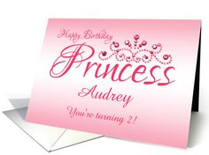 Custom Pink Tiara Princess Happy Birthday card