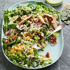Succotash Salad with Buttermilk-Avocado Dressing.  vegetarian if you leave out the meat.