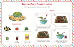 Check out September's FREE Bonus Bite recipe and make an amazing Game Day Guacamole to kick off the season! Kids Cooking Recipes, Cooking Classes For Kids, Cooking With Kids, Kids Meals, Kid Recipes, Recipe Drawing, How To Cut Avocado, Kids Cookbook, Recipe Scrapbook