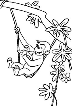 George The Monkey Eating A Banana In The Tree Coloring Pages - Curious George Coloring Pages : KidsDrawing – Free Coloring Pages Online Tree Coloring Page, Truck Coloring Pages, Animal Coloring Pages, Coloring Book Pages, Printable Coloring Pages, Free Coloring, Coloring Pages For Kids, Coloring Sheets, Curious George Party