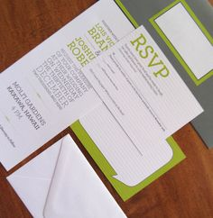 Modern Lime Green and Gray Wedding Invitations (sample). $4.00, via Etsy.