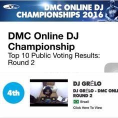 Muito obrigado a todos que votaram! Estou em 4 pelo voto popular. Agora vamos aguardar o voto do Júri. #dmcdjonline #turntablism #djgrelo #djing by djgrelozs