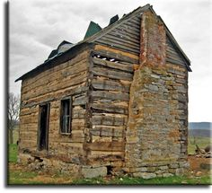 Antique Hand Hewn Oak Log Cabin. Size: 15 x 22 and is 1.5 stories, still on it's original foundations in the Shenandoah Valley, and currently for sale to be moved.