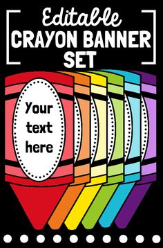 Decorate your bulletin boards or classroom with this rainbow editable crayon banner set! Simply add a text box and customize with your favorite font and color! Crayon Bulletin Boards, Back To School Bulletin Boards, Classroom Bulletin Boards, Classroom Door, Classroom Setup, Classroom Displays, Future Classroom, Classroom Labels, Crayon Themed Classroom
