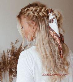 Flechtfrisuren - braided Hair - Haare ❀ Geflecht mit Schal ❀ - What is the full description of a thi Hair Scarf Styles, Braid Styles, Curly Hair Styles, Scarf Hairstyles, Pretty Hairstyles, Easy Hairstyles, Hairstyles 2018, Hairstyle Ideas, Wedding Hairstyles