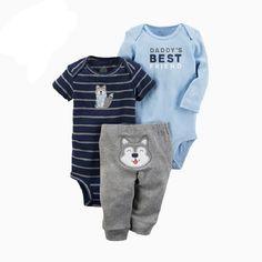 efc21f39d4f7 NWT Carters Baby Boy Clothes 3 Piece Set Blue Elephant Nb 3 6 9 12 ...