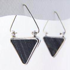 Black jasper triangle earrings in 999 fine and 925 sterling silver by EdithToledano. Read more at https://www.etsy.com/il-en/listing/114885540/black-jasper-earrings-silver-triangle?ref=shop_home_active_12