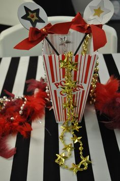 Cool centerpiece at an Oscars party! See more party ideas at CatchMyParty.com!