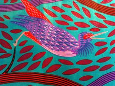 African Wax Print Fabric by the HALF YARD. Birds and Vines in teal, red, and purple.