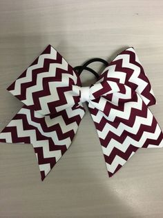 Maroon Cheer bow with White Chevron by ThosebowsbyLo on Etsy, $6.00