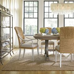 Stanley Furniture 062-WDS Coastal Living Woven Chair Dining Set - ATG Stores
