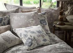 A lovely collection of hand drawn floral prints in muted colours for a fresh summery look all the year round. Drapery Fabric, Muted Colors, Cottage Homes, Bed Pillows, Home Goods, Upholstery, Floral Prints, Interior, Fabrics