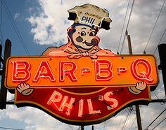 "Phil's Bar B Que 9205 Gravois, St. Louis. One of St. Louis' original barbecue ""joints."""