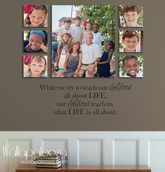 Family wall decal - Family Room Wall Decal - Life wall decal - Family decal - Children Quote, Teach, Inspire, Inspiration by WallapaloozaDecals on Etsy Family Room Walls, Family Wall Decor, Diy Wall Decor, Picture Arrangements On Wall, Family Pictures On Wall, Family Photos, Inspirational Wall Quotes, Nursery Wall Decals, Wall Vinyl