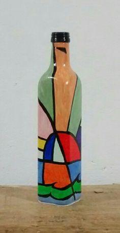 #pintura em garrafas