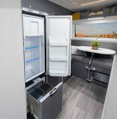 Plenty of fridge and freezer space in the awesome new Pathfinder from Explorer Motorhomes.
