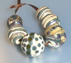 Silvered Ivory Lampwork Beads Handmade Earthy Collection All Fired up Studio