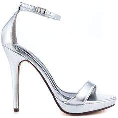 The Lovina will be your new heartthrob. This Michael Antonio pump showcases a chic and classic shape with a silver metallic upper. A simple adjustable ankle strap, 4 3/4 inch heel and 3/4 inch platform completes this party look.