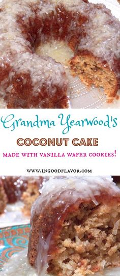 Rich, moist, and coconuty cake is made with vanilla wafers crumbs and topped with a lemon coconut glaze. It's simply amazing! #dessert #cake #coconut #lemon #glaze #baking#vanillawafers #trishayearwood