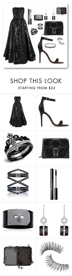 """""""Black sequins"""" by mehrak ❤ liked on Polyvore featuring Halston Heritage, Gucci, Eva Fehren, Chanel, NARS Cosmetics, Trish McEvoy and Finesque"""