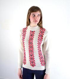 Vintage sweater, Scandinavian knit front