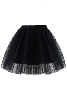 Polka Dots Tulle Skirt in Black by: Chicwish