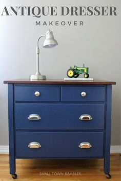 Antique dresser makeover- painted navy blue with wood stained top