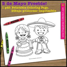 May 5th Freebie, China Poblana and Charro, traditional mexican outfits, coloring page. // Página para colorear del 5 de mayo