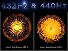Water Sound images of 432 Hz and 440 Hz.   432Hz is the natural A   Since 1953, however most modern musical instruments have been tuned to 440hz producing a higher, tinnier sound which many experts believe disassociates us from the music