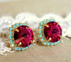 Stud earrings Crystal big pink - 14 k plated gold post earrings real swarovski rhinestones . from Petite Delights By Ilona Rubin. Saved to Jewelry I. Jewelry Box, Jewelry Accessories, Fashion Accessories, Jewlery, Wedding Jewelry, Ruby Jewelry, Bohemian Jewelry, Bridal Accessories, Fashion Clothes