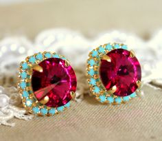Crystal stud big pink earring