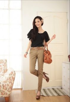 High Waisted Pants Skinny Trousers in Grey for Women Office ...
