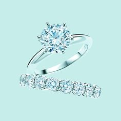 Pretty much would take any ring from Tiffany's <3 <3 <3 <3  The ultimate symbol of love. The Tiffany® Setting engagement ring in platinum with diamonds and shared-setting diamond band ring. #TiffanyPinterest