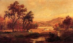 Au bord du lac de Jasper Francis Cropsey (1823-1900, United States)