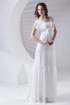 Elegant Strapless Puddle Train Chiffon Zipper-back Wedding Dresses