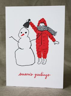 Child Building Snowman Cards by E. B. Goodale for smudge ink available at William Ashley for CAD$15.50 before taxes.  (Ten foldover cards printed by letterpress and blank envelopes.)