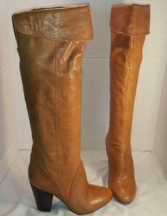 ANTHROPOLOGIE ARRICCI COGNAC BROWN LILLIAN PULL ON LEATHER TALL BOOTS US 8 #ARRICCI #TallBoots