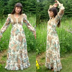 Vintage 70s Gunne Sax Floral Peasant Dress Size by ParadisePrairie. I would prefer this in a short sleeve for you