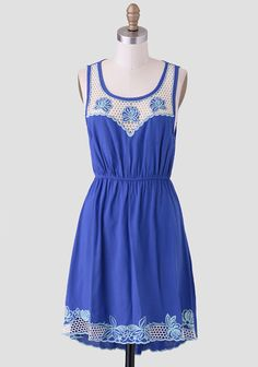 Chileno Bay Embroidered Detail Dress: Cobalt blue with crochet panes and hemline, as well as keyhole back, and a little high-low