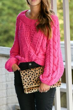 for the love of glitter, hot pink sweater, pink cable knit sweater, leopard clutch, black jeans, fall style, women's fashion