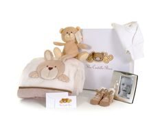 Our beautiful cream items in our Cuddle Box F is ideal for girls or boys
