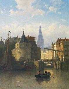 Johan Conrad 'Coen' Greive   Gezicht op de IJkant, Amsterdam, met de Schreierstoren, olieverf op doek 58,9 x 46,8 cm, gesigneerd r.o.